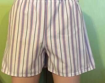 Size Large, Size 10-12, striped cotton blend Womens Slumber Party, Lounge, Sleep Shorts, Play Shorts, Boxers.