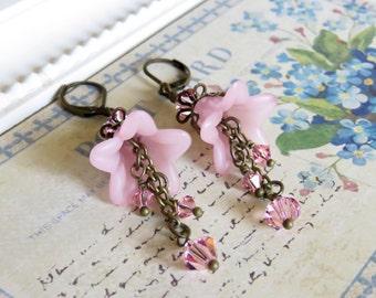 Pale Pink Lucite Flower Earrings, Vintage Style Earrings, Fairy Earrings, Swarovski Crystals