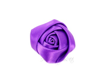 Purple Mini Satin Rolled Flowers Rosettes 1-1/2 inch - Purple Fabric Flowers, Purple Hair Flowers, Purple Flowers, Purple Hair Accessories