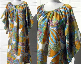 Butterfly Print Maxi Dress with Belled Angel Wing Sleeves Vintage 60s Size Large to XL Plus