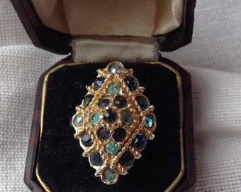 Vintage 1950s Adjustable Blue Crystal Cocktail Ring Size N to Q