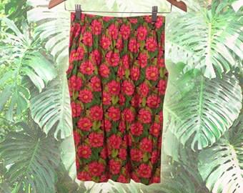 Vintage 90s Pink Orange Floral Rayon Crinkle Elastic Waist Skirt size Medium