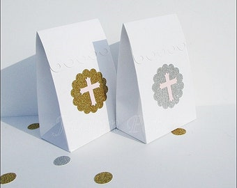 Pink & Gold Baptism, Christening, Communion, Party Favor Bags, Gold Or Silver Glitter With Crosses, Dessert Table, Candy Boxes, Set Of 24