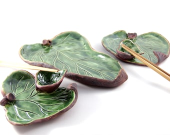Ceramic Leaves Sushi Set - Platter and two plates
