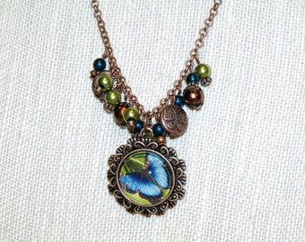Blue Butterfly and Copper Pendant Necklace with Earrings - boho nature copper jewelry