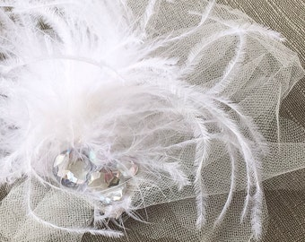Bridal Accessory Hair Clip // Flowing Feathers and Gems