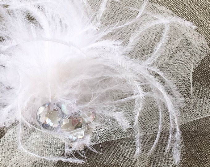 Featured listing image: Bridal Accessory Hair Clip // Flowing Feathers and Gems