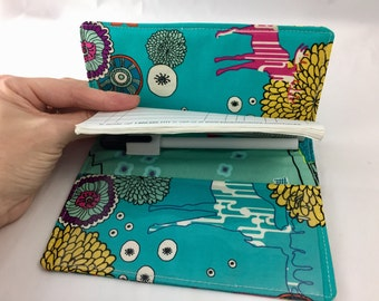 Duplicate Checkbook Cover with Pen Holder Duplicate Checkbook Register - Fabric Checkbook Cover Art Gallery Utopia Paradise Dwellers in Vivi