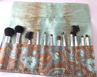 Makeup Brush Roll Organizer  - CLEARANCE - Chatswortj Organic in Brown