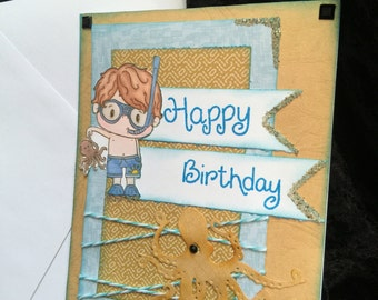 Happy birthday card ocean theam with octopus and sand glitter hand made