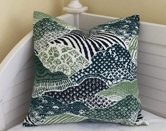 Robert Allen Madcap Cottage Windsor Park in Palm Designer Pillow Cover - Square, Euro, Lumbar and Body Pillow Sizes