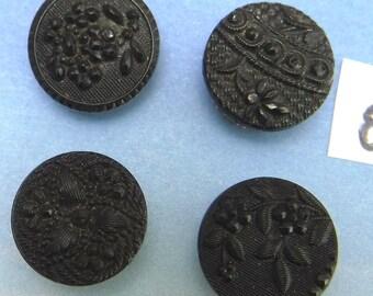 Victorian Buttons Antique 4 Ornate Flower Black 1/2  Glass Button 8