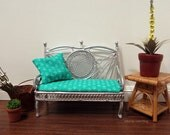 Silver garden loveseat with upholstered cushion and pillow - dollhouse miniature