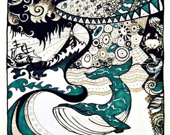 Sea Shanty, A4 Fine Art Illustration Print - Maritime/Nautical-Themed, Whale, Waves, Lighthouse, Ship, Shells