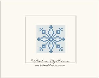 Geometric Vintage Motif - Machine Cross Stitch - Machine Embroidery - Snowflake Design - Folk Motif - 4x4 - INSTANT Download - HBS-MOTIF-7