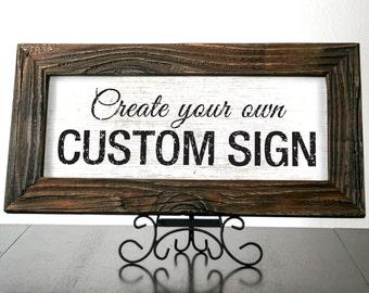 LONDON - Custom Signs with Dark Reclaimed Wood Frame. Rustic Sign. Wedding Decor. Restaurant Sign. Custom Frames. Coffee Shop Decor. 20x10