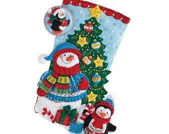 Santa Trimmimg the Tree Bucilla Felt Christmas Stocking
