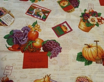 Autumn fruit and flowers fabric