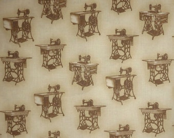 SPECIAL--Sepia Toned Allover Vintage Singer Treadle Sewing Machine Print Pure cotton Fabric--BY THE Yard