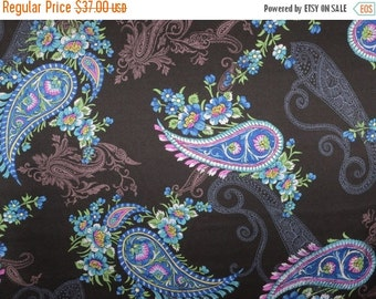 ON SALE Elegant Blue on Black Paisley Print Pure Silk Charmeuse Fabric--One Yard