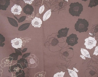 ON SALE SPECIAL--Mocha Brown Floral Print Stretch Cotton Sateen Fabric--One Yard