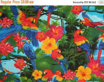 ON SALE Colorful Tropical Parrot Print Pure Cotton Fabric--One Yard