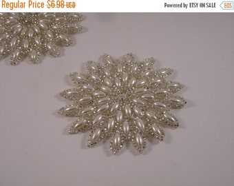 ON SALE Starburst Pearl and Silver  Applique--One Piece