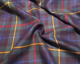 Elegant Navy and Hunter Classic Tartan Plaid Pure Wool Fabric--By the Yard