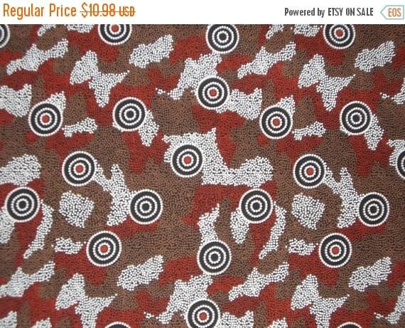 ON SALE Amicitia Black Aboriginal Print Pure Cotton Fabric--One Yard