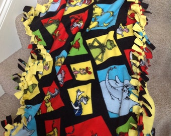 "Dr. Seuss tie fleece blanket / throw 43""x55"" (child size)"