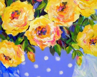 Blue and Yellow still life Original Painting 16 x 20 Art by Elaine Cory