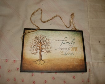 """FAMILY TREE Cute Little Wooden Sign Postcard Size5x3 1/2"""" wooden sign"""