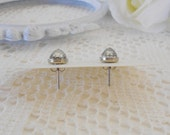 Vintage Crystal Stud Earrings, Rare Cabochon Studs, Dome Studs, Bullet Point Studs, Post Earrings, Art Deco Stud Earrings, Estate Jewelry