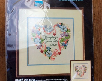 Heart of Love Vintage Counted Cross Stitch Kit by Golden Bee - retro embroidery kit, flower cross stitch, everything grows with love, birds