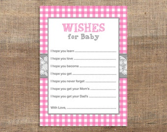 Pink Gingham Wishes For Baby Cards, Pink and Grey Baby Shower Activity, DIY Printable, INSTANT DOWNLOAD