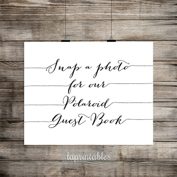 Polaroid Guest Book: Polaroid Guest Book Sign Snap A Photo Sign Black & By