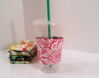 Eco-Friendly Coffee/Tea Sleeve --- Pink Damask