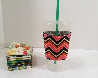 Eco-Friendly Coffee/Tea Sleeve - Pink Black Gold Chevron
