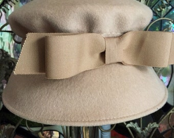 vintage Cloche Henry Pollak NY Hat, Wool Cloche 1950s Winter Hat, Vintage Millinery