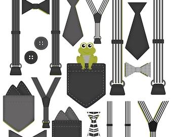 Boy Onesie Accessories Clip Art Pocket Handkerchief Suspender Tie Bow Tie Clip Art Little Gentleman Black White Gray