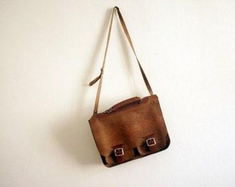 Vintage Brown Leather School Bag Purse