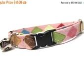 ON SALE Argyle Cat Collar- Pink and Brown Argyle