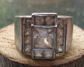 Retro Vintage Sterling Silver and Cubic Zirconia Large Men's Ring Size 10