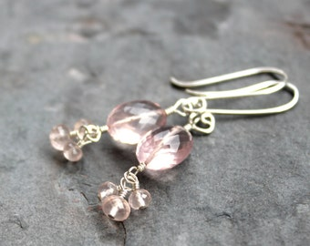 Rose Quartz Earrings Sterling Silver Dangle Cluster Beaded Pink Gemstone Earrings