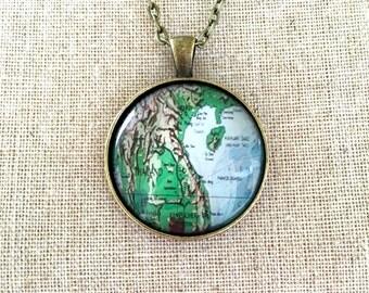Thailand Travel World Map Wanderlust Unique Gift for Traveler Globe Necklace