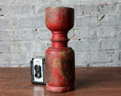 Candle Stick Red Turned Wood Tall for Dining Table Mantle Floor Indian Decor Boho Candle Stand Holder