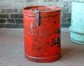 Vintage Old Rustic Worn Metal Bright Red Color Canister Side Table Storage Bucket Industrial Bar Accent Trashcan