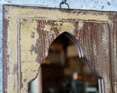 Mirror Reclaimed Vintage Indian Door Panel Wall Hanging Art Distressed Yellow Mirror Moroccan Decor Turkish