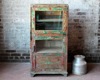 Cabinet Distressed Red and Turquoise Antique Indian Farm Chic Warm Industrial Kitchen Bathroom Cabinet Curio Boho Moroccan Decor