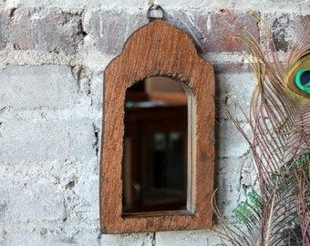 Moroccan Mirror Reclaimed Small Vintage Indian Door Panel Wall Hanging Art Distressed Ochre Mirror Moroccan Decor Turkish